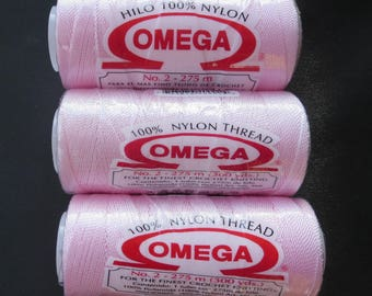 Sale - Three Spools of Omega Hilo 100% Nylon Thread - Baby Pink