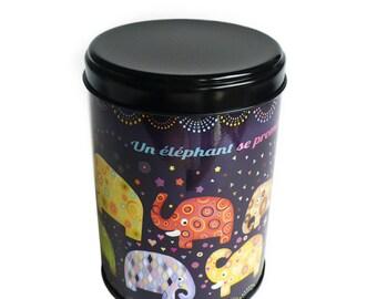 """Boite à thé """"Un éléphant se promenait sur une jolie boite à thé"""", cadeau déco cuisine, rangement thé"""