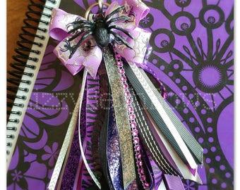 Purple Spider Planner tassel and clip set, multi functional tassel, purse tassel, planner clip, black purple silver, Halloween matching set,