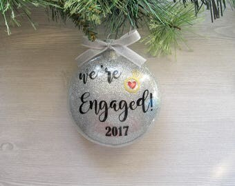 We're Engaged Ornament - Engagement Ornament - Wedding Ornament - Engaged Ornament - Personalized Engagement Gift - Just Engaged Gift