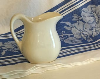 Small 3.5 inch white vintage pitcher for cream or syrup, tea party