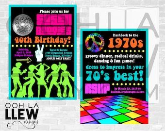 Geburtstag Party Einladung, Erwachsene Geburtstagsfeier, Erwachsene  Geburtstagseinladung, Erwachsene Geburtstagsfeier   Retro 70er