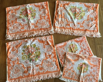 Vintage Lady Pepperell Orange Reversible Bath Towel Set - Three Bath Towels and Two Hand Towels- vintage bath towel, orange bath towel,