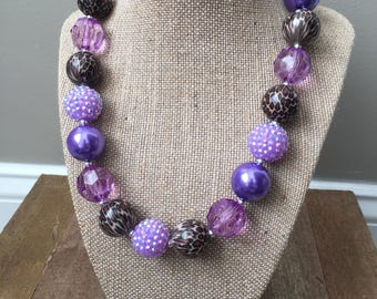 Chunky Bubblegum Bead Necklace with Purple and Cheetah Beads