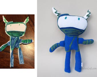 Custom plushie made by your child's art drawing Ninja doll personalized - MADE TO ORDER
