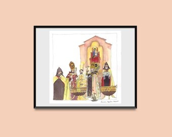 Original watercolor - Etchmiadzin watercolor- Water Blessing-Armenian cathedral-Armenia painting-armenian christmas