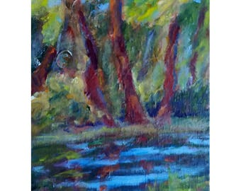 Original acrylic impressionistic landscape painting Trees reflections in pond in early spring 8x6