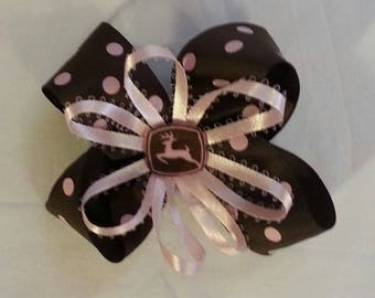 Pink And Brown Tractor Hair Bow