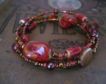 Brick Red and Honey Brown Beaded Wrap Memory Wire Bracelet