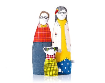 Family Portrait dolls , Personal family , hipster Family , handmade soft sculpture ,3D family portrait , likeness doll , Parents  girl dolls