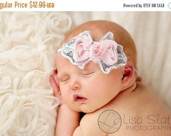 10% SALE Baby headband, newborn headband, adult headband, child headband and photography prop The single sprinkled- SEQUIN bow  headband
