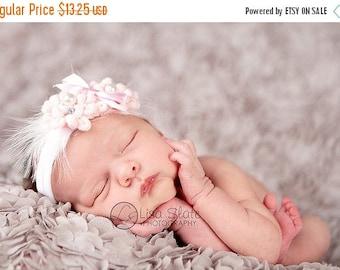 12% off Newborn headbands Baby headband Adult headband Child headband Baby hairbow Photo prop Preemie headband feather headband flower headb