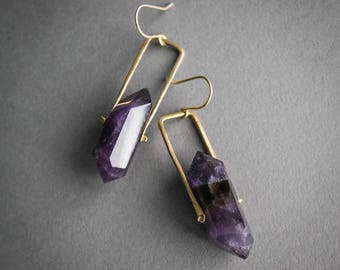 Amethyst Spinner Earrings