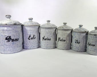 6 French Vintage Enamelware Canisters with Lids Blue Marblized