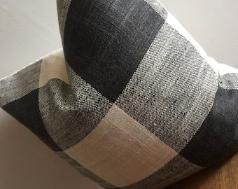 Designer Buffalo Check Plaid Pillow Cover Beige White Tan