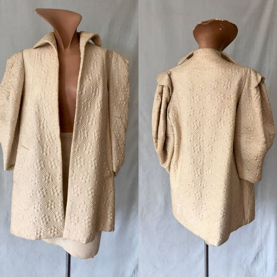 1960s Quilted Cocoon Coat, size Medium