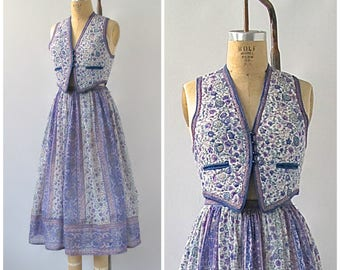 INDIAN SUMMER Vintage 70s Vest Top & Skirt | 1970s Floral Cotton Gauze Set by Starina, Made in India | Hippie, Boho Bohemian Folk | Sz Small