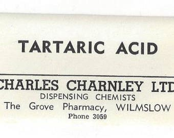Vintage Tartaric Acid Paper Ephemera Medicine Drug Pharmacy Label, 1920s