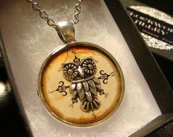 Silver Owl over Compass  Pendant Necklace (2424)