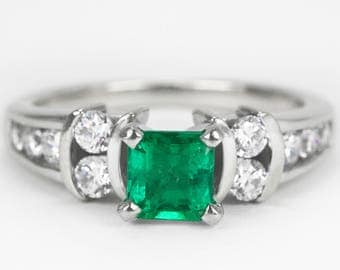 Platinum & 18K Emerald Engagement Ring, AAA+ Colombian Emerald Ring, Fine Quality Emerald Engagement Ring, Emerald Ring, Emerald Diamond Rin