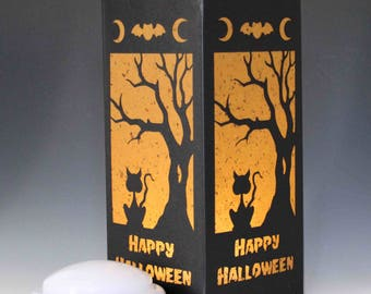 Happy Halloween Cat and Tree Laser cut Luminary Table Lamp Centerpiece - #90