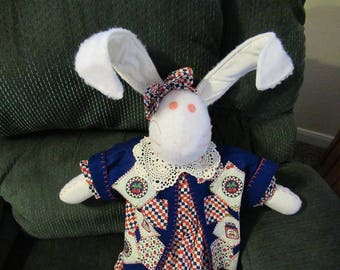 Soft Sculpture Bunny with Jacket - Red, White and Blue Cherries