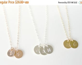 SALE - Rose Gold Disc Necklace, Personalized Initial Best Friends Necklace, Personalized Initial Necklace, Silver Jewelry, BFF Gold Initial