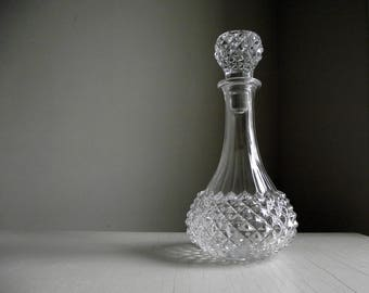 Lead Crystal Decanter & Stopper , Cristal D'Arques France Decanter , French Crystal Decanter , Diamond Point Glass Decanter