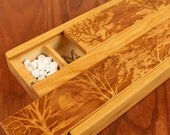 JUMBO Day/Night Weekly Pill Boxes, Tree of Life,  Solid Cherry Hardwood, Paul Szewc, Masterpiece Laser