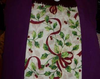 Crochet top Christmas towel in wine ribbon  & green holly print - CTI