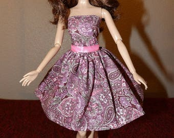 Pretty pink paisley & floral strapless sundress for Faahion Dolls - ed1025