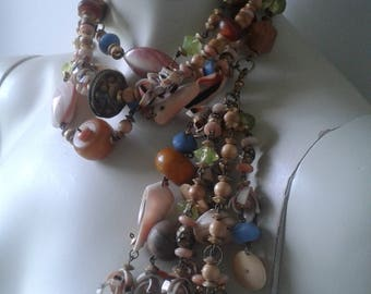 SALE - -Necklace of shells, stones, wooden beads,turquoises,pearls.  Summer necklace. Vintage of the 80's