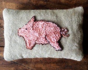 Primitive Decor Pig Needle Punch Embroidery Organic Lavender Sachet