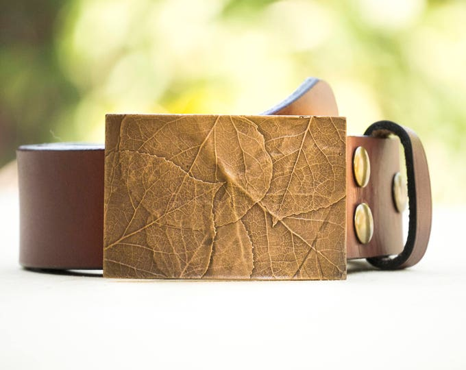 "Aspen 2."" Bronze Belt Buckle and Top Grain Leather Strap"