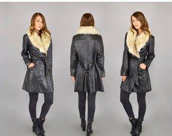 SUMMER SALE 70's Arctic Fox + Black Leather Wrap Coat