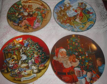 Four Vintage Avon Christmas Plates Yr 1993-1980-1992 -Rockwell 1982