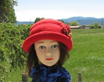 Knit Felt Brimmed Bowler Crusher Red Felt Wet Felt brooch
