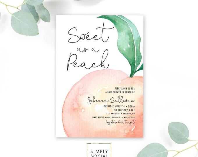 Sweet as a Peach Baby Shower Invitation - Watercolor Georgia Peach Bridal Shower Invite Birthday Invite Printable Sweet as a Peach