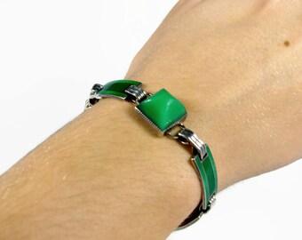 Art Deco Sterling Silver Bracelet, Green Enamel, Chrysoprase, Vintage Jewelry, Guilloche Enamel, Estate Jewelry, Green Bracelet