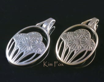 Oval Pendant in Sterling Silver symbolizing love with a bouquet of flowers based on Victorian Era Craftsman Wall Paper designed by Kim Fox