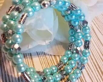 Memory Wire Bracelet,  Coil Bracelet, Wrap Bracelet, Aqua Bracelet, Easter Bracelet, Bangle bracelet, Cuff Bracelet