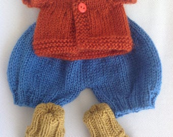"Custom order for Sylvie-Waldorf doll clothes, overalls, cardigan, socks, skirt, bubbles hat for 14"" knitted doll, knitted clothes, clothes"