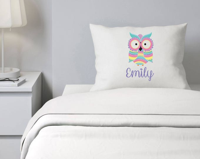 Owl Pillowcase, Girls Bedding, Personalized Pillowcase, Colorful Pillowcase