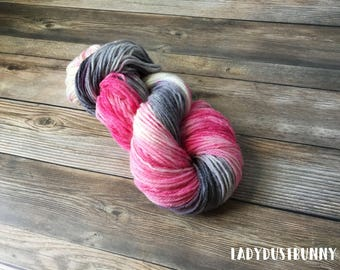 Hand dyed Pink and Gray Yarn, Pink and Gray Worsted Weight yarn, worsted weight yarn, hand painted yarn, hand dyed yarn, grey and pink yarn