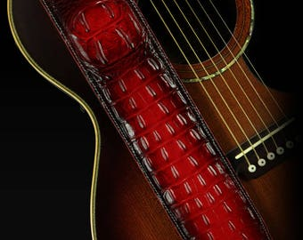 Leather Guitar Strap, Padded Guitar Strap, Custom Guitar Strap: Kurg-Red Dragon Guitar Strap