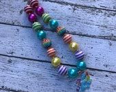 My Little Pony Bubblegum Necklace, Rainbow Dash Necklace Necklace, Girls Chunky Necklace, Girls  Bubblegum Chunky Necklace, Rainbow Dash