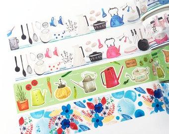 SAMPLE of masking tape (100 cm per pattern) Free Shipping, kitchen, gardening, flower, floral, taiwan artist, planner, scrapbook