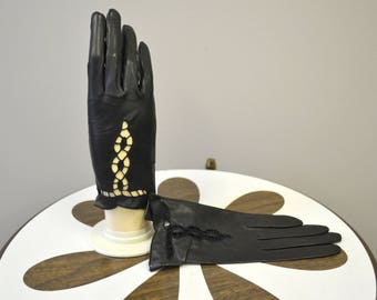 1950s Madova NOS Black Leather Gloves, Size 7