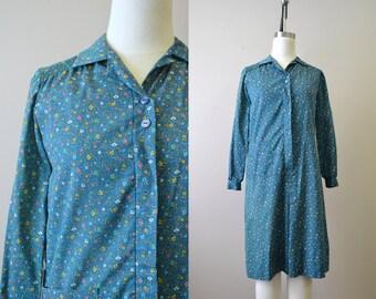 1970s Green Floral Shirt Dress