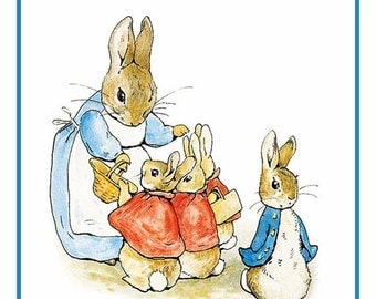 GREAT SALE Peter and Family Get Ready for a Walk From the Tales of Peter Rabbit  by Beatrix Potter Counted Cross Stitch Chart / Pattern FREE